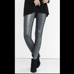 Express silver metallic leggings